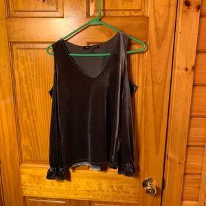 open shoulder dark grey velvet long sleeve